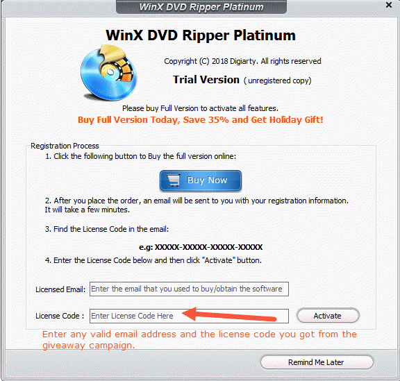 Free: WinX DVD Ripper Platinum V8 9 2 Full License Code Giveaway