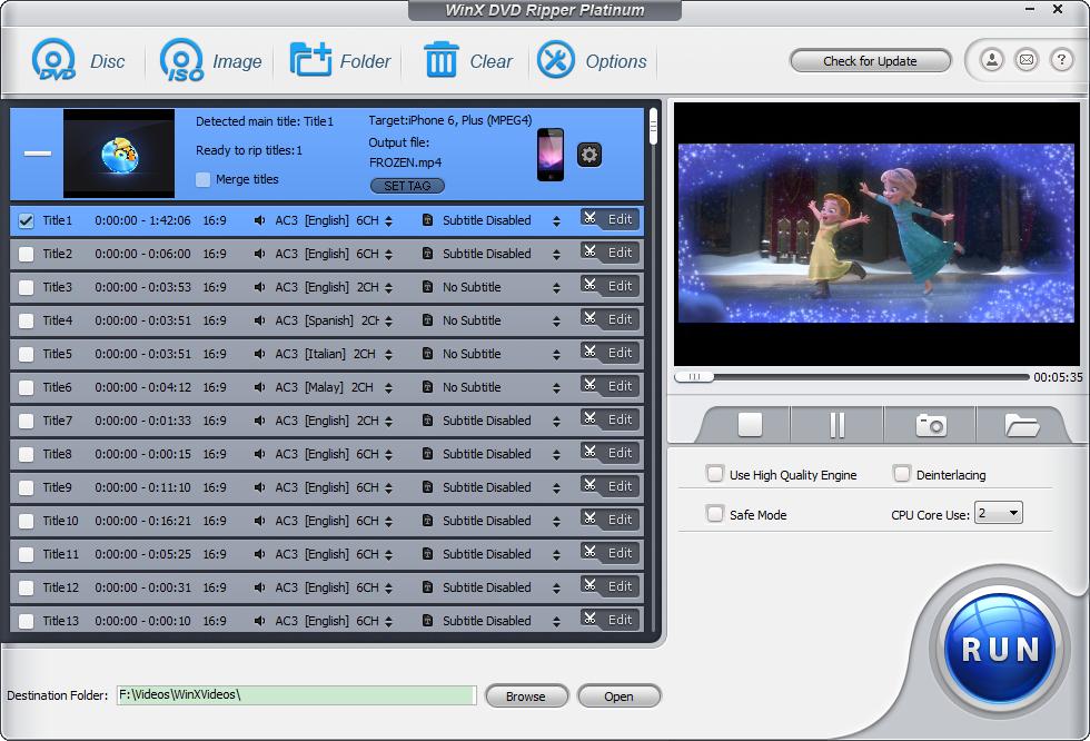 screenshot frozen - WinX DVD Ripper Platinum ( 20 Hediye Lisans ) ( Sona Erdi )