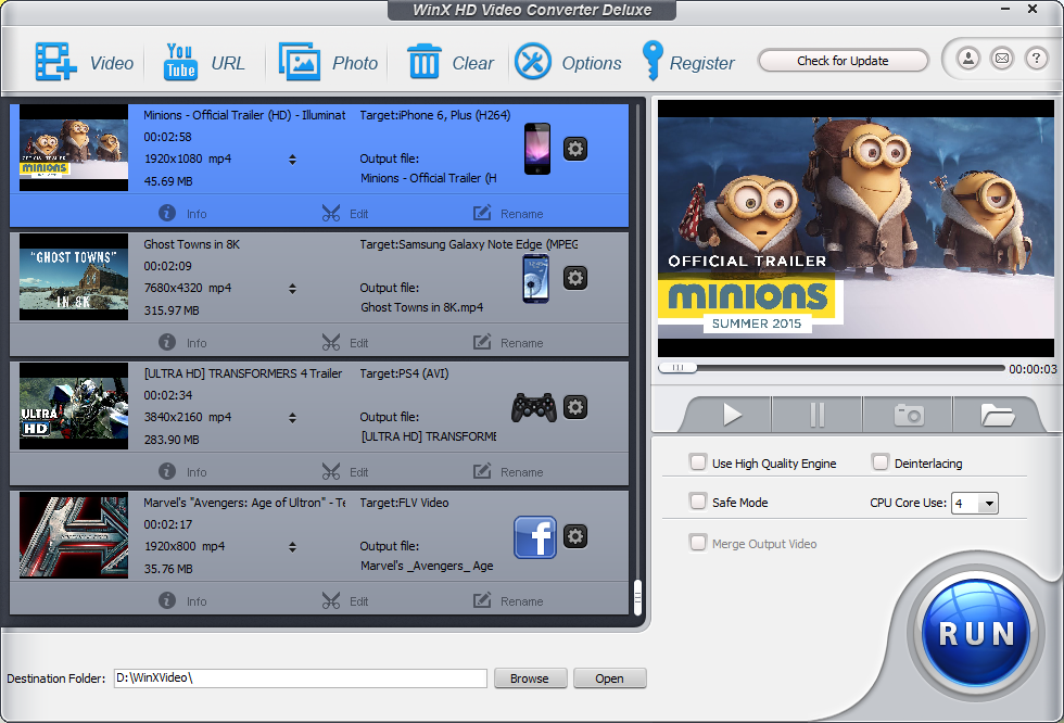 WinX HD Video Converter Deluxe - 高清视频转换软件