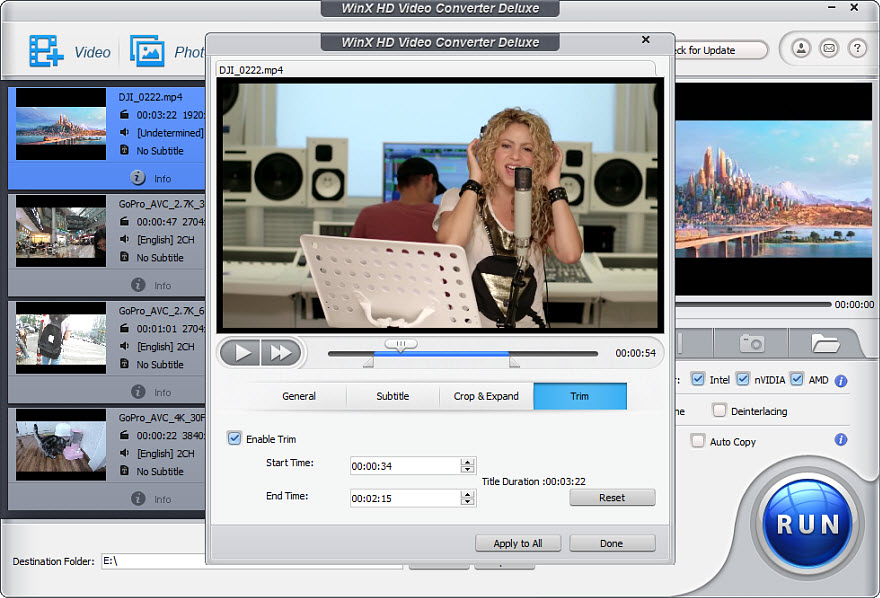 WinX HD Video Converter Deluxe - Convert HD Videos MTS MKV