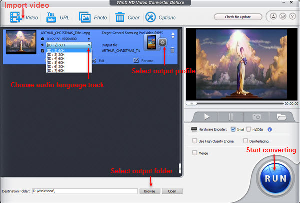 WinX HD Video Converter Deluxe - convert M2TS video