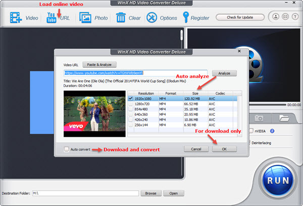 WinX HD Video Converter Deluxe - download convert YouTube video