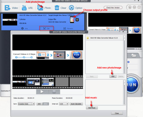 WinX HD Video Converter Deluxe - create phote/image slideshow