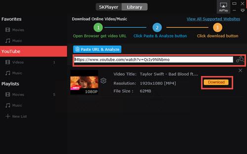 best free MP4 video downloader - 5KPlayer