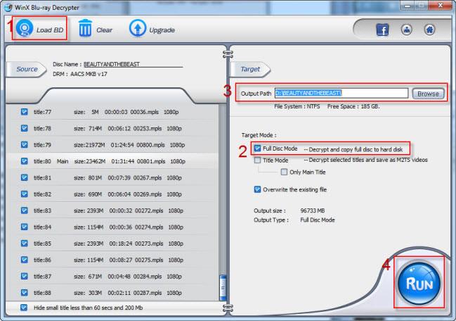 Decrypt 3D Blu-ray Disc to 2D Folder
