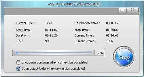Convert DVD to 3GP - Start Conversion