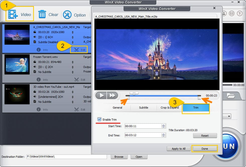 Free all-in-one video converter, cutter, joiner and editor.