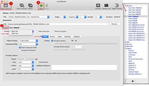 Rip DVD with HandBrake 1 2 for macOS (High) Sierra or