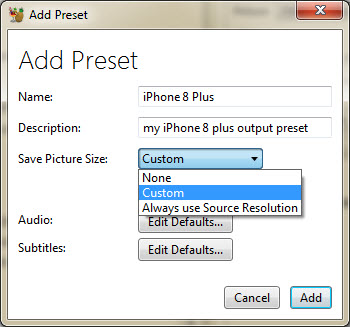 Add iPhone Preset in HandBrake