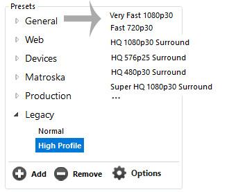 HandBrake HD profiles