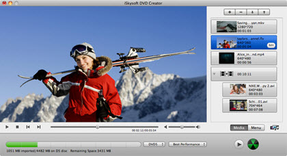 Iskysoft DVD Creator for Mac Interface