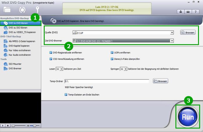 zerkratzte DVD retten - WinX DVD Copy Pro
