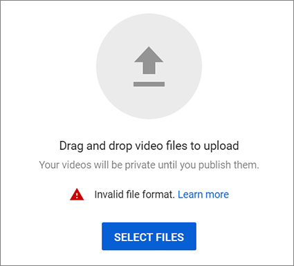 MP4 won't upload to YouTube: invalid file format error