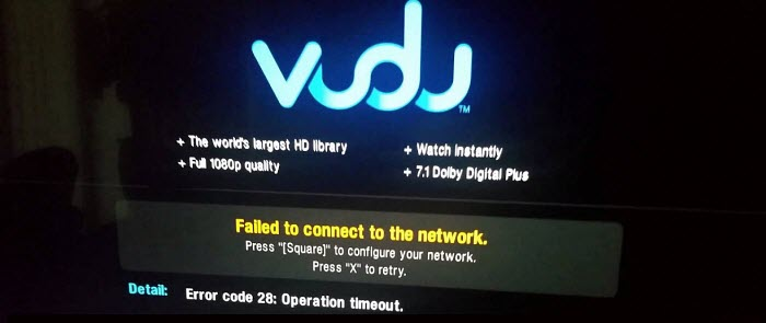 You can Fix Vudu Error Code 28 Operation Timeout Easily