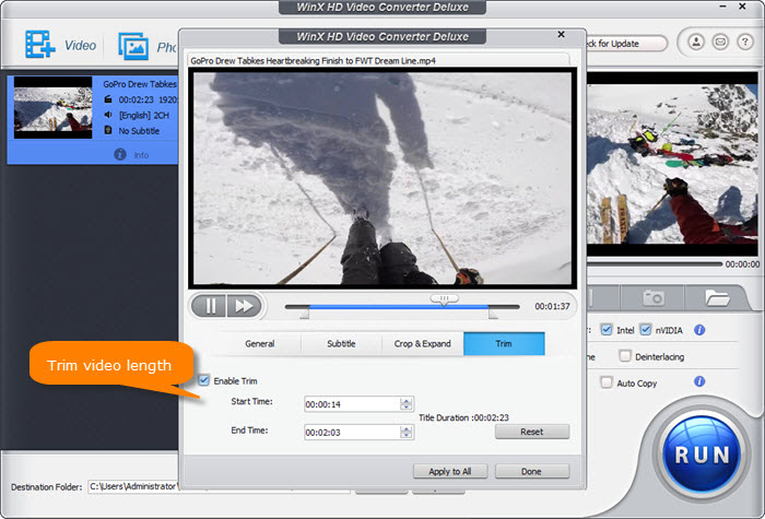 WinX HD Video Converter Deluxe - Best Instagram video editor