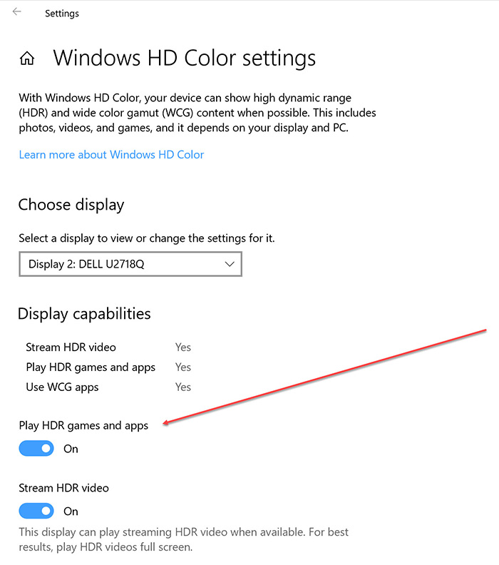 turn on Play HDR games and apps