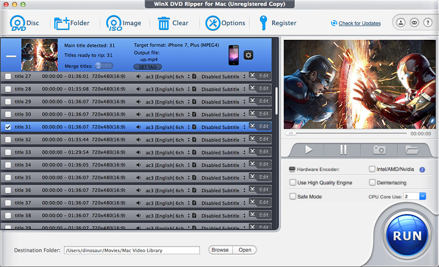 WinX DVD Ripper for Mac 5.0.0
