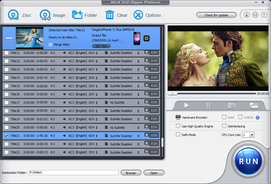 Click to view WinX DVD Ripper Platinum 7.3.2 screenshot
