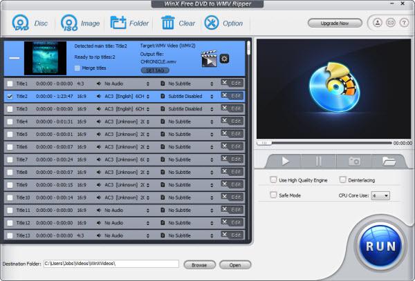 WinX Free DVD to WMV Ripper Screenshot
