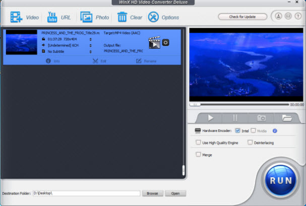 WinX HD Video Converter Deluxe full screenshot